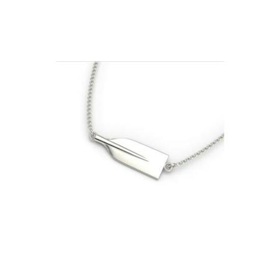 Silver Canoe Paddle Blade Necklace